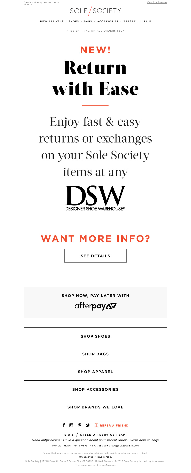 Sole Society - You asked, we listened! Make returns at any DSW location