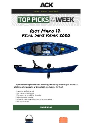 Austin Kayak - Riot Mako 12 Pedal Drive Kayak // Lightest & Simplest Drive on the Market