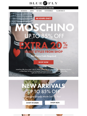 48 HOURS ONLY ⏰ Take An Extra 20% Off Select Styles From Moschino & Save Up to 85% Off