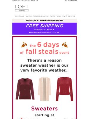 LOFT - $16.99 Fall Sweaters + Extra 15% Off  $75+