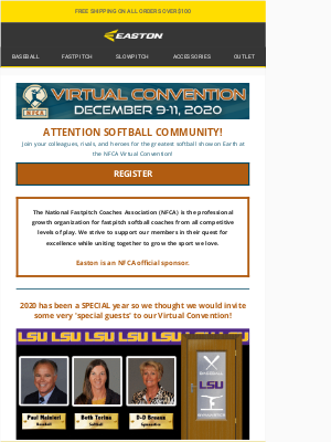 Easton Slowpitch -  NFCA Virtual Convention = Softball Heaven 🥎