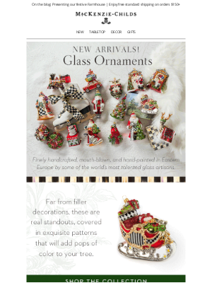MacKenzie Childs LLC - Boxed + ready to gift: Glass ornaments