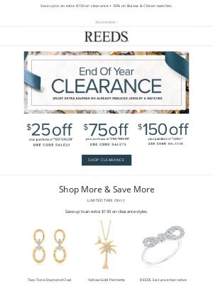 REEDS Jewelers - Extra savings on clearance styles!