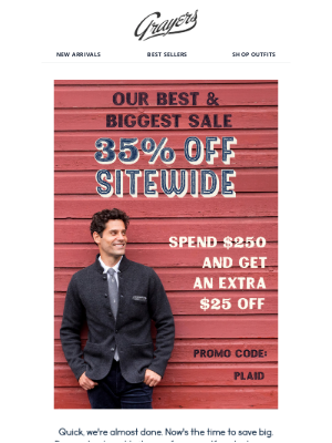 Grayers - Last 3 hours! 35% Off Sitewide