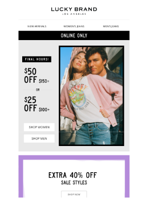 Lucky Brand - *LAST CALL* Save Up To $50!