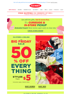 Old Navy - YAY! $9 cozy joggers + $4 sleep shorts + 50% OFF EVERYTHING ELSE