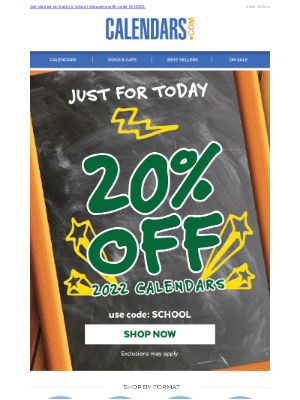 Calendars - Just in time! Calendars are 20% off! Hours left >>