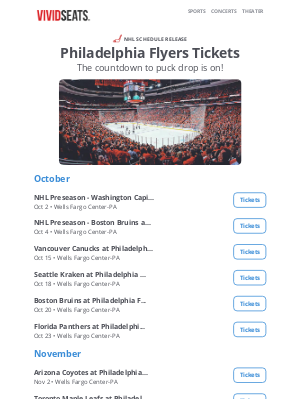 Vivid Seats - 🏒 The Philadelphia Flyers schedule just dropped!