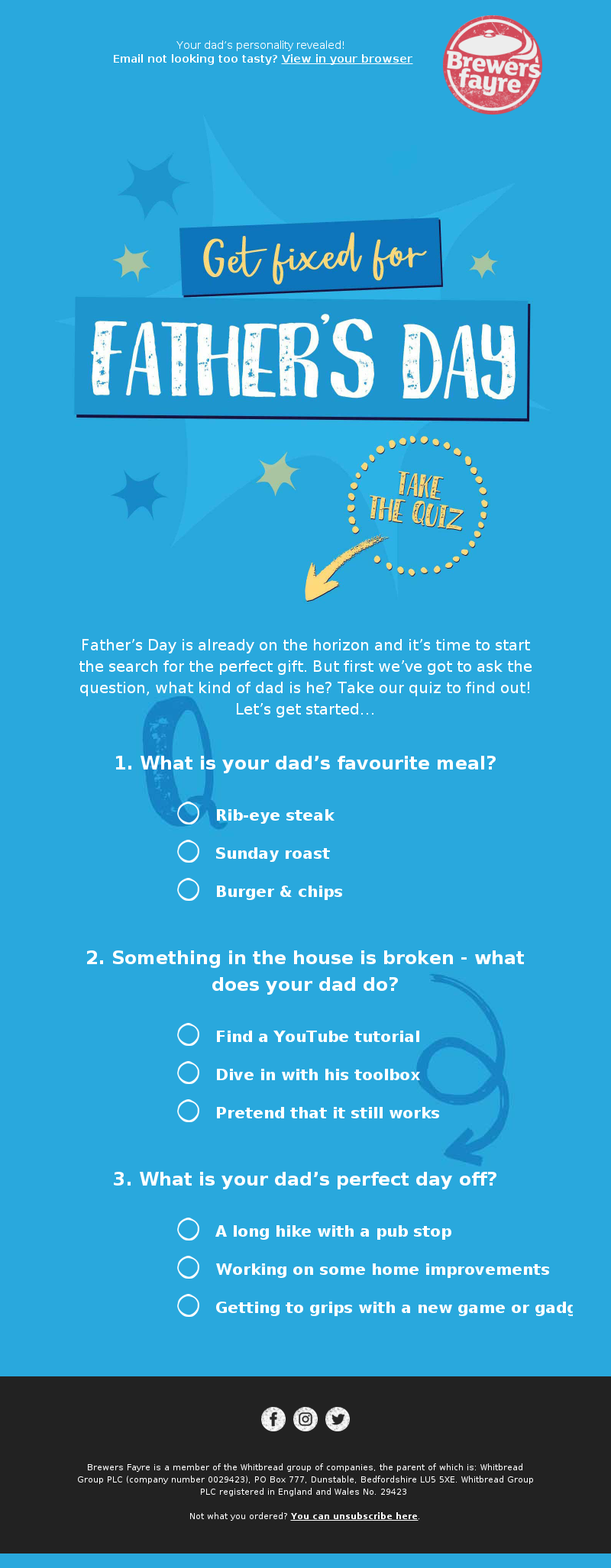 Brewers Fayre (UK) - Take our Father's Day quiz