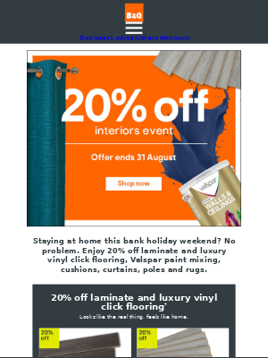 DIY at B&Q (UK) - 20% off interiors event ends 31 August