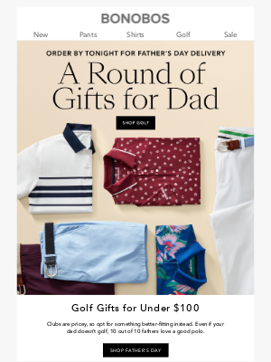 Bonobos - Last Call! Under $100 Golf Gifts for Dads