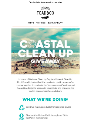 Toad&Co - Coastal Cleanup Day Giveaway