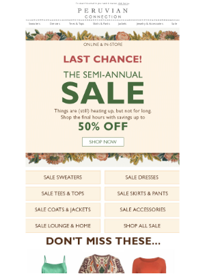 Peruvian Connection - Our Semi-Annual Sale Ends SOON!