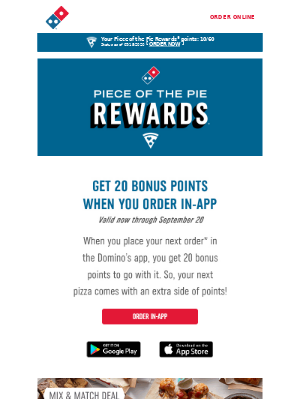 Domino's Pizza - Don't miss out on 20 Bonus Points. Order 🍕 in the app before 09/20