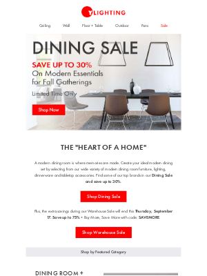 YLighting - Dining Sale - Save up to 30%