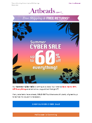 One Day Left: Summer Cyber Sale + Halloween Preparations Begin