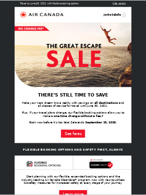 Air Canada - Our Great Escape Sale on all destinations ends soon