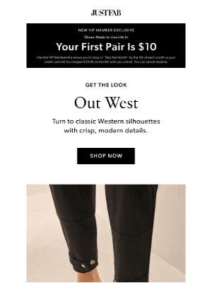 JustFab - A Western Touch (Your First Pair --> $10)