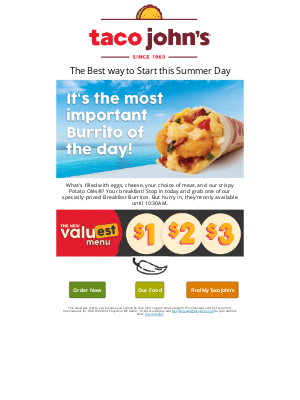 Taco John's - 🌯☀️Start this gorgeous Summer day with a specially-priced Breakfast Burrito