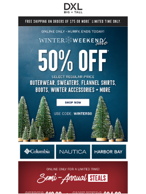 DXL - ENDS TODAY! 50% Off Winter Gear Including Nautica, Columbia + More!