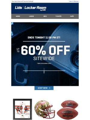 LIDS - Hurry! Up to 60% Off Expires 11:59 PM ET