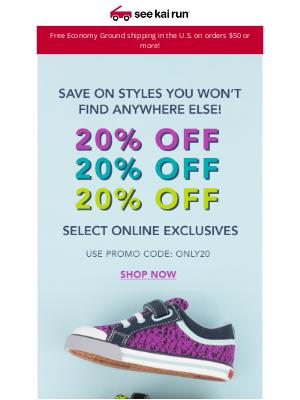 See Kai Run - 20% Off Our SeeKaiRun.com Exclusives!