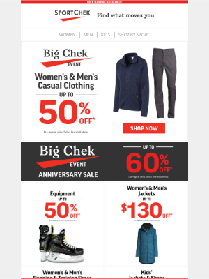 Sport Chek (CA) - Big Chek Event Is On! Clothing Deals + More