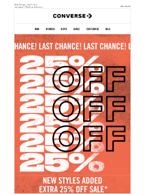 LAST CHANCE: 25% Off Clearance
