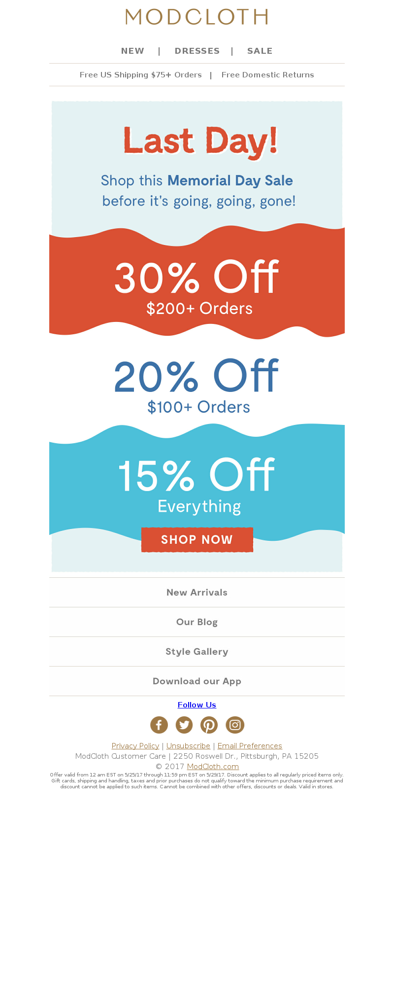ModCloth - Going, going, GONE. This sale ends today!