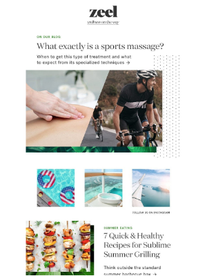 Sports Massage 101, Quick & Sublime Summer Grilling, and more...