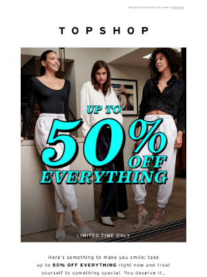 ATTENTION: Up to 50% off everything!