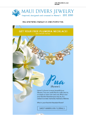 Your Hawaiian Word of the Day + Free Sterling Silver Plumeria Necklace!
