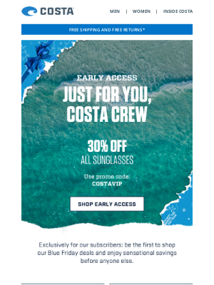 Costa Sunglasses - BLUE FRIDAY EARLY ACCESS