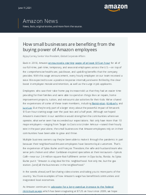 Amazon - The impact of Amazon's $15 per hour starting pay