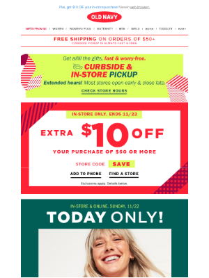 Old Navy - *** $4 LONG-SLEEVE TEES *** + 40% off everything!