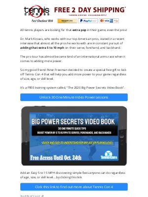 Tennis Express - Free: 2020 Big Power Tennis Secrets Video Book