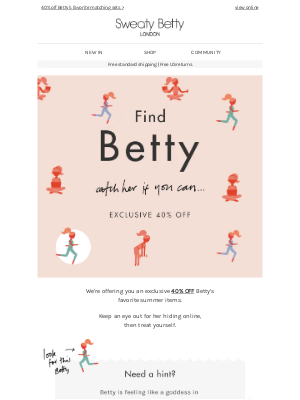 Find Betty: 40% off ends soon...