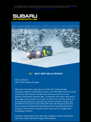 Subaru of America - MOTORSPORTS NEWS: SNO*DRIFT RALLY
