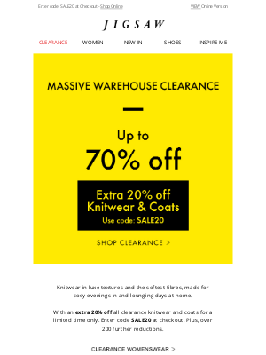 Jigsaw (UK) - Favourite Knitwear   Extra 20% off Clearance Coats and Knitwear