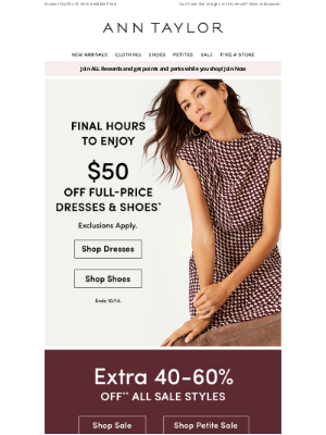 Ann Taylor - Ends Tonight: $50 Off Full-Price Dresses & Shoes