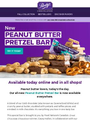 Purdys Chocolatier - It's finally here: Peanut Butter Pretzel Bar!! 🥜