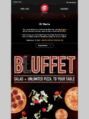 Buffet Served to Your Table.