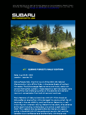 Subaru of America - MOTORSPORTS NEWS: Ojibwe Forests Rally