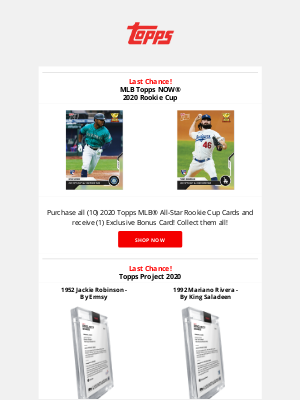 The Topps Company - Don't miss the latest Rookie Cup and Project 2020!