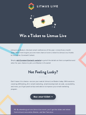Your last chance to win a ticket for Litmus Live Boston