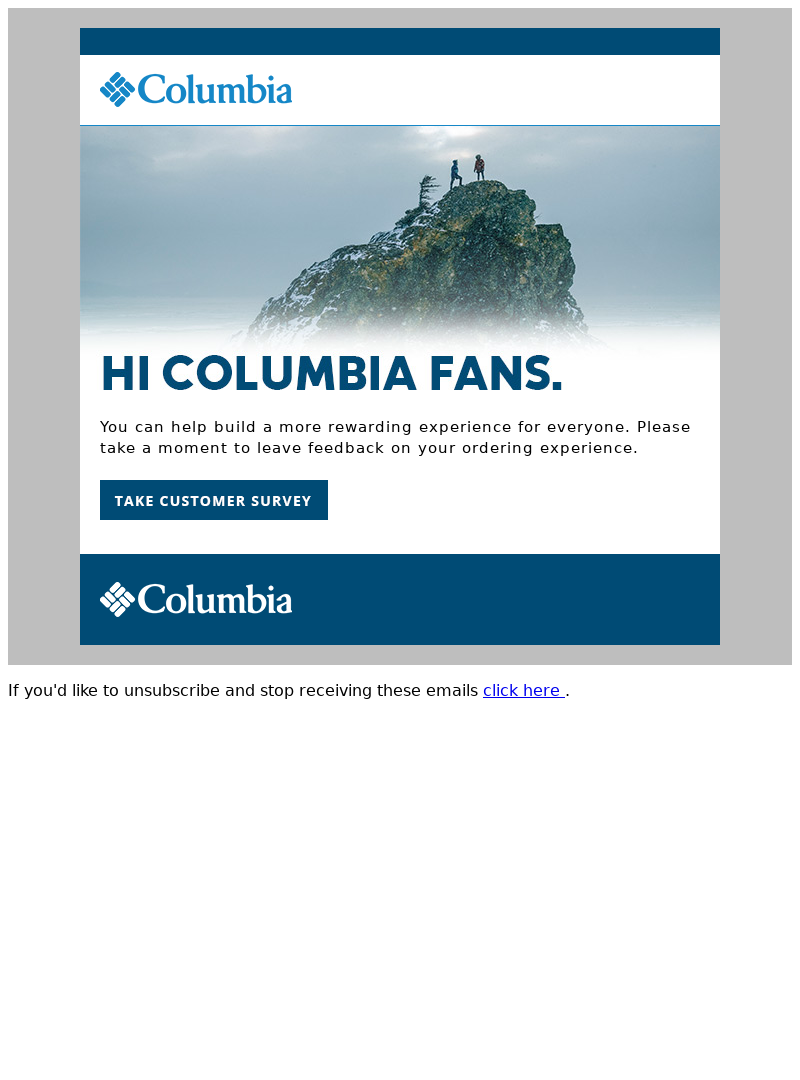 Columbia product review email example