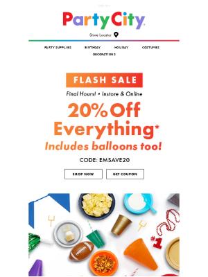 Ending Soon - Save 20% In Store & Online