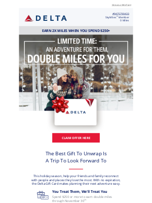 Delta Air Lines - Limited Time: Give The Delta Gift Card, Get 2X Miles
