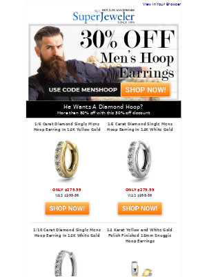 SuperJeweler - He Wants Diamond Hoops | More Than 80% Off...