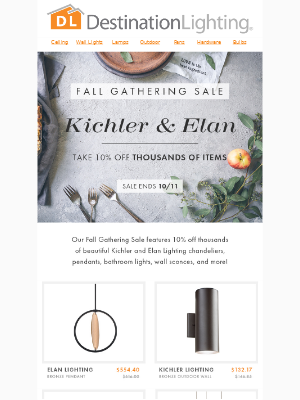 Fall Gathering Sale | 10% Off Kichler and Elan Fixtures